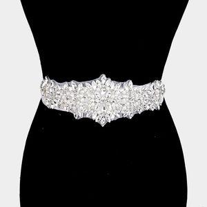 Crystal Pearl Pave Sash Bridal Wedding Belt
